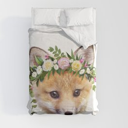 Baby Fox With Flower Crown, Baby Animals Art Print By Synplus Comforters