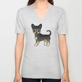 Black And Tan Smooth Coat Chihuahua Dog Cute Cartoon Illustration Unisex V-Neck