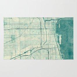 Chicago Map Blue Vintage Rug