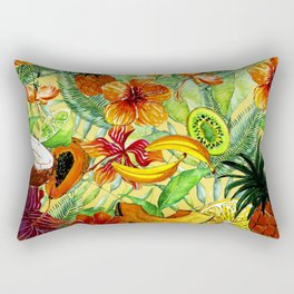 My tropical Summer Hibiscus and Fruits Garden- Jungle Pattern on #Society6 Rectangular Pillow