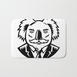 Koala With Moustache Woodcut Black and White Bath Mat
