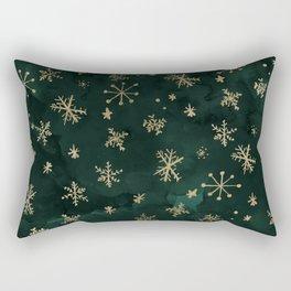 modern gold snowflakes winter christmas green watercolor Rectangular Pillow
