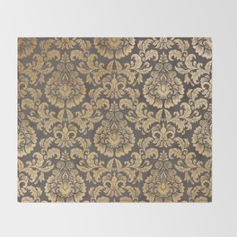 Gold swirls damask #8 Throw Blanket