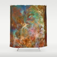 astronomy Shower Curtains featuring Mystic Mountains - Carina Nebula Astronomy Image by Highton Ridley
