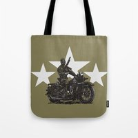 military Tote Bags featuring Military Harley by Ernie Young