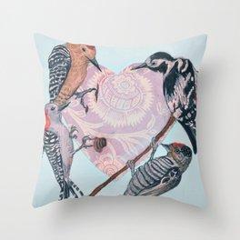 Woodpecker Heart Throw Pillow