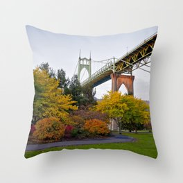 St. Johns Bridge Throw Pillow