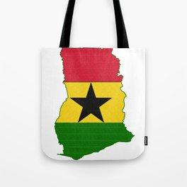 Ghana Map with Ghanian Flag Tote Bag