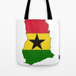 Ghana Map with Ghanian Flag Tote Bag
