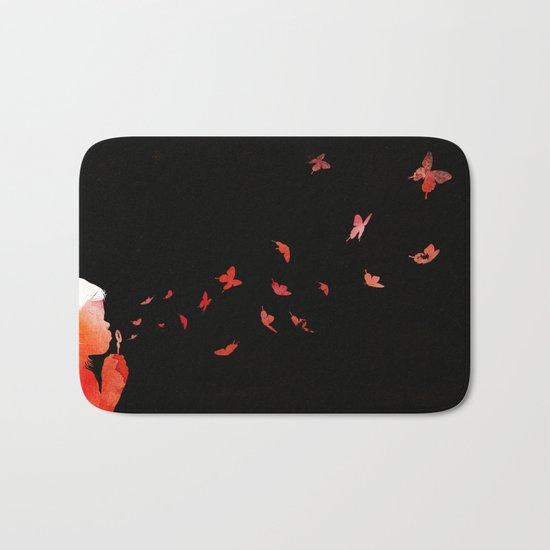 Blowing butterflies Bath Mat