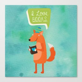 Woodland Creatures series: Fox Loves Books Canvas Print