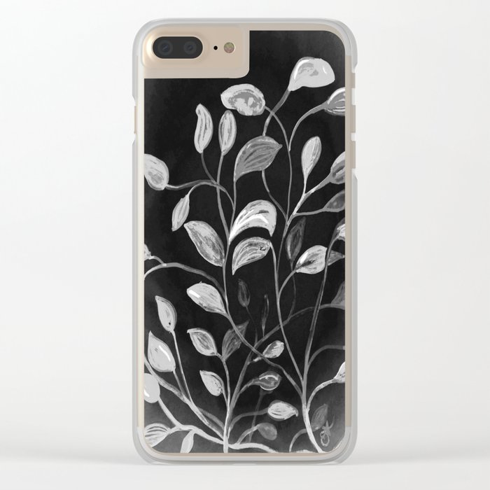 Red and Green Leaves! Monochrome Black and White and Grey Clear iPhone Case