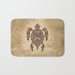 Vintage Red and Green Haida Spirit Sea Turtle Bath Mat