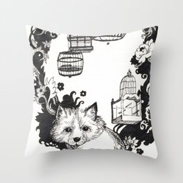 Fox and Birdcages  Throw Pillow