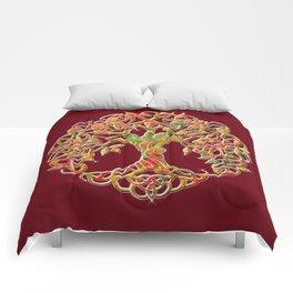 Tree of Life Maroon Comforters