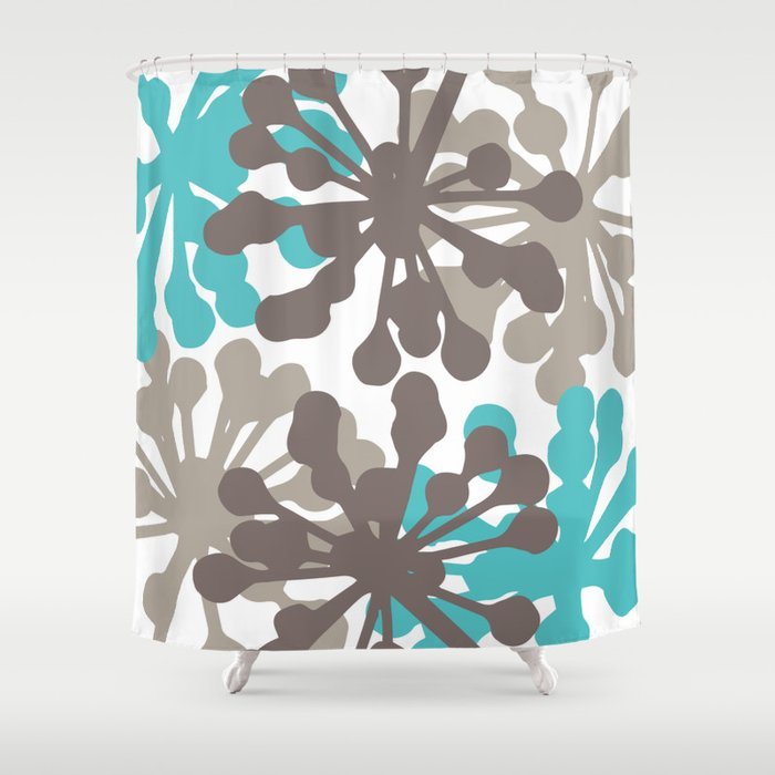 Modern Botanical Print Teal Brown Shower Curtain
