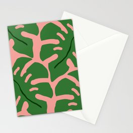 Giant Monstera Leaves on Pink  Stationery Cards