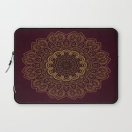 Gold Mandala on Royal Red Background Laptop Sleeve