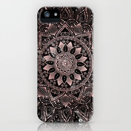 Elegant rose gold mandala dots and marble artwork iPhone Case