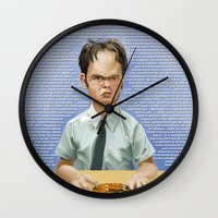 dwight schrute Wall Clocks featuring Dwight by Richtoon
