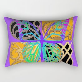 Lavender-Gold Turquoise Butterfly Rectangular Pillow