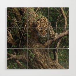 Amur Leopard Cub in Tree Wood Wall Art