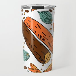 Spices. Pattern. Cinnamon, cardamom, nutmеgб coffee bean. Travel Mug
