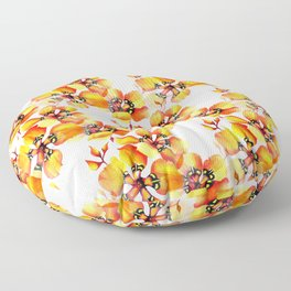 Watercolor Sparaxis Elegans South African Floral Pattern Floor Pillow