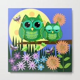 Cute Owls in Fantasy Summer Land Metal Print