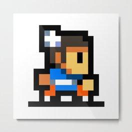 Minimalistic Chun-Li - Pixel Art Metal Print