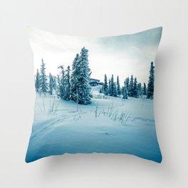 Alaskan Snow Cabin Throw Pillow