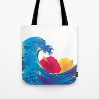 hokusai Tote Bags featuring Hokusai Rainbow & Hibiscus_YR by FACTORIE