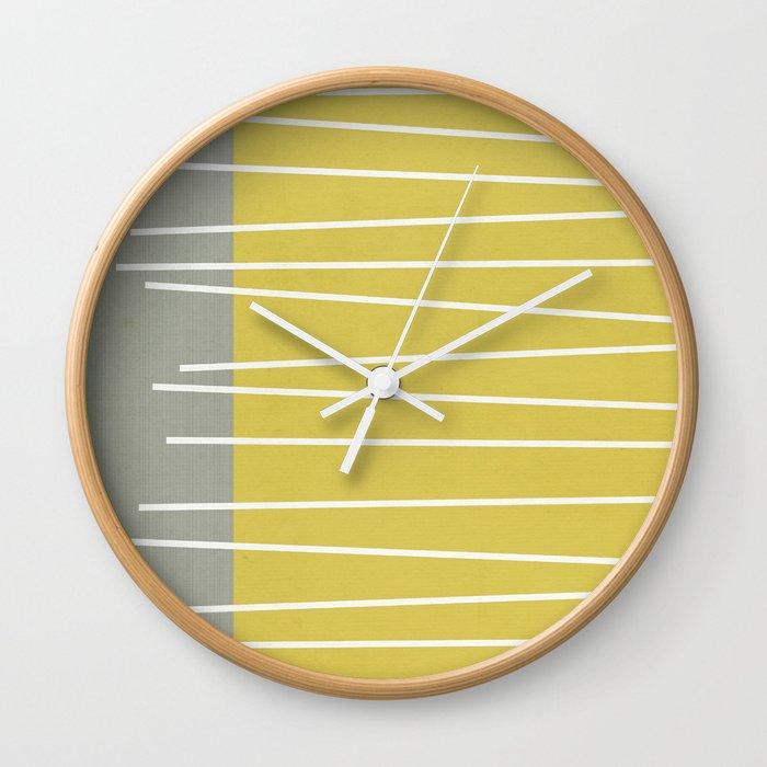 mid century wall clock MId century modern textured stripes Wall Clock by michelledrew  mid century wall clock