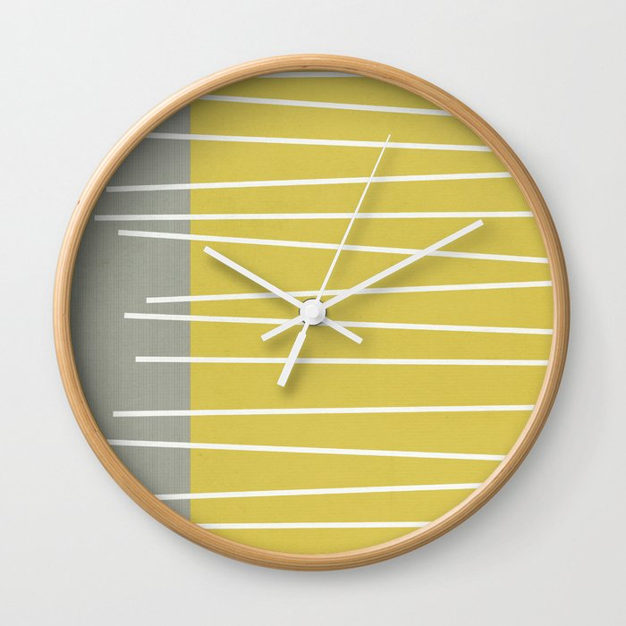 mid century wall clock MId century modern textured stripes Wall Clock by michelledrew  mid century wall clock