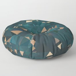 Gold Teal Abstract Low Poly Geometric Triangles Floor Pillow