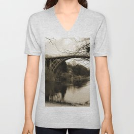 Worlds First Ironbridge over River Severn in England in sepia Unisex V-Neck