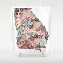 Georgia map flowers portrait Shower Curtain