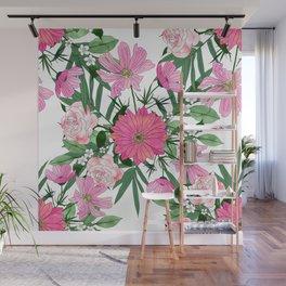 Boho chic garden floral design Wall Mural