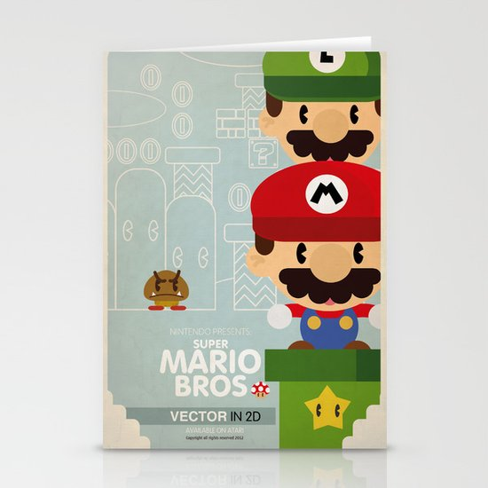 mario bros 2 fan art Stationery Cards