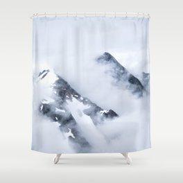 Minimalist MIsty Foggy Mountain Twin Peak Snow Capped Cold Winter Landscape Shower Curtain
