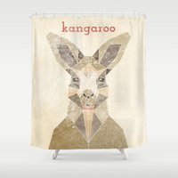 kangaroo Shower Curtains featuring Kangaroo by Alice Maclean Smith