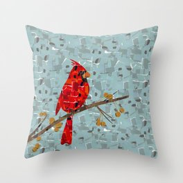 Red Cardinal Collage Throw Pillow
