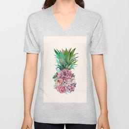 Floral Pineapple Unisex V-Neck