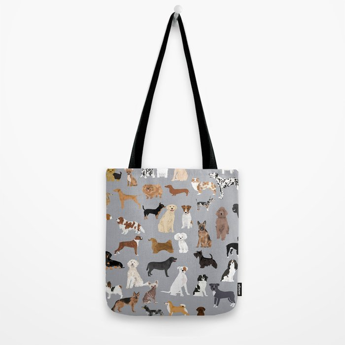 Mixed Dog lots of dogs dog lovers rescue dog art print pattern grey poodle shepherd akita corgi Tote Bag