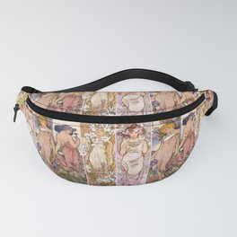 "Alfons Mucha, "" four flowers "" Fanny Pack"