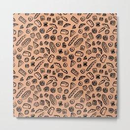 Bread Bakery Cake Brown Background Pattern Metal Print