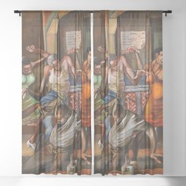 Classical African-American Masterpiece 'Dance Hall' by Ernie Barnes Sheer Curtain