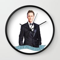 tom hiddleston Wall Clocks featuring Tom Hiddleston - Flower Crown by River