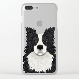 Black Border Collie Clear iPhone Case