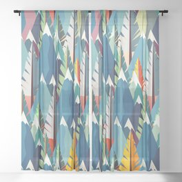 Mountains and Spruces Pattern Sheer Curtain